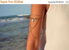 ALMOST XMAS SALE Arm Chain Bracelet Arm Bracelet Piece Hipster Bronze Silver Chain Moroccan Swirl Charm Turquoise Bead Bohemian Drape Body J