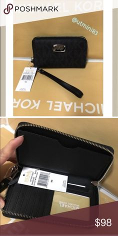 🍥mk wallet/wristlet🍥black Authenic brand new with tag. Black mk signature fit any iPhone Michael Kors Bags Wallets
