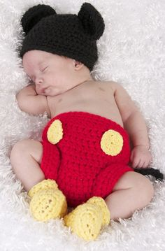 Newborn Baby Boy Crochet Mickey Mouse Hat Big by dreammadestudio, $22.00