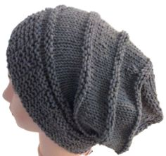 Grey slouchy knit in soft cotton yarn. Stretchy - I'll fit any adult. Find it in my Etsy shop at: www.lynnovation.etsy.com