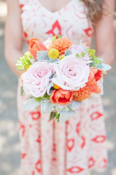 patterned bridesmaid dress + bright bouquet