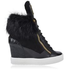 Giuseppe Zanotti Fur Trim Wedged Trainers ($980) ❤ liked on Polyvore featuring shoes, sneakers, black, black high tops, leather sneakers, studded lace-up wedge sneakers, black high top sneakers and hi top wedge sneakers
