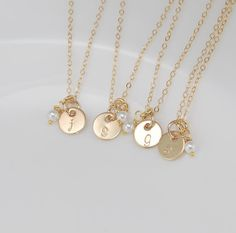 Bridesmaids gifts - initial charm necklace $28.00