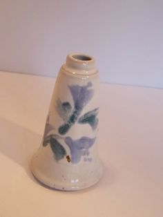 Iris Stoneware Vermont made Candlestick Candle Holder Blue green  grey pottery