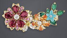"DIOR 2017. ""Ruby Flower Garland"" ring in yellow gold, diamonds, rubies, spessartite garnets, turquoise, pink sapphires, tsavorite garnets, emeralds and yellow sapphire #DIOR #DIORÀVersaillesCôtéJardins #DIORJewellery #HighJewelry #FineJewellery #HauteJoaillerie"
