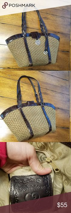 "BOGO Sale! Tan Brighton Purse Authentic Tan Straw Purse by Brighton. Exterior great condition. Brighton hesrt has scratches (removable) interior good condition. 7 pouches/pockets. Magnetic closure. Dimensions : 15x6x8 with 10.5"" strap drop. Brighton Bags Shoulder Bags"