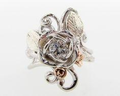 $$2,949 Elsabeth Diamond Rose Ring, 14k white, rose, & green gold