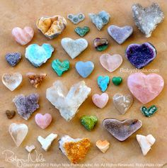 Love is in the earth. Photography by Robyn Nola. #hearts #quartz #rosequartz…