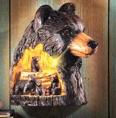 White elephant gift idea -- LED Lighted Carved Bear Family Sculpture
