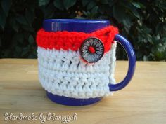 Crochet Mug Cozy in Pistachio White and Red  Mug by HaniyyaBazaar, $5.00
