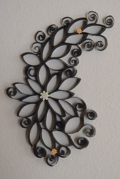 DIY wall decor ideas paper rolls wall decorations floral pattern