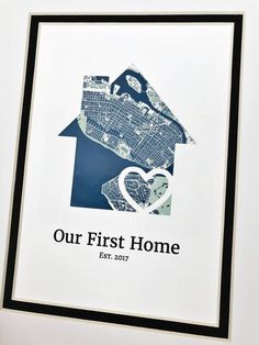 Our First Home- Personalized Home Map Matted Gift- First Home Gift- New House Housewarming Gift- Gift for Families, Just Because Gift Best Friend Gifts, Gifts For Friends, House Map, Client Gifts, Just Because Gifts, Custom Map, Welcome Mats, Family Gifts, First Home