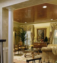 Gorgeous Venetian Plaster ceiling by Virginia's Buon Fresco.  A very fine example and application of my favorite type of wall finish...DU