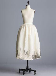 Della Giovanna Skylar Skirt- Off-White Silk Organza Gathered Princess Tea Length Skirt with Metal Hardware Stud Hem. Bridal Separates. Wedding Gown