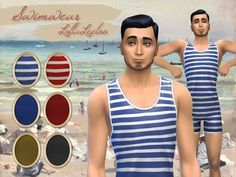 Vintage Swimming Suit by LollaLeeloo at TSR via Sims 4 Updates