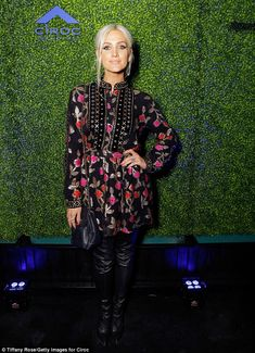 Former reality star: Ashlee Simpson Ross-Næss looked fabulous in a floral Dodo Bar Or FW/1...