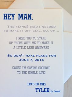 Groomsman Wedding Invite Card  Will you be by ForeveryMomentCrafts, $2.50