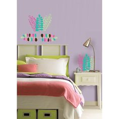 #oBedding - #Brewster Home Fashions Espirit Die-Cut Wall Stickers - 8pc Pink  Blue Leaves Accent Decals - AdoreWe.com