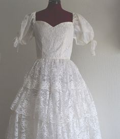 Vintage 1950s Wedding Prom Formal White Tiered Lace by KheGreen