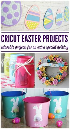 Sweet #DIY Easter Projects you can do with your Cricut Cutting Machine. #Easter #JugglingActMama #Crafts
