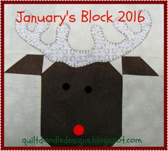Tis The Season Quilt Doodle Designs January's Block 2016 by quiltdoodledesigns on Etsy