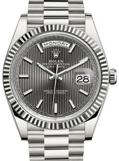 228239 Dark rhodium stripe motif dial Rolex Day-Date 40 Day-Date 40mm White Gold цена за оригинал.