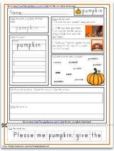 Pumpkin Multisensory Handwriting Free Sample Page