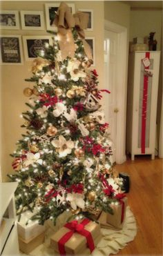 Red, gold, white, and burlap Christmas Tree
