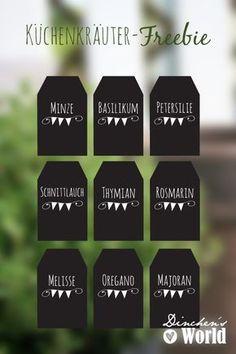 Etiketten für Küchenkräuter Freebie von www.dinchensworld.de