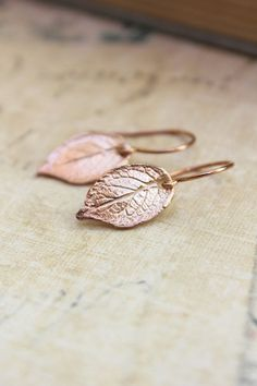Rose Gold Leaf Earrings Small Drop Earrings by apocketofposies