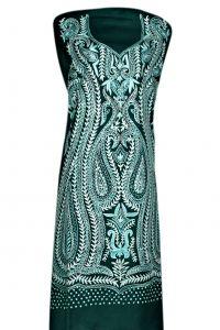 Greencoloured fine woolenspun aari work suit piece Front embroidery kashmiri ambi design