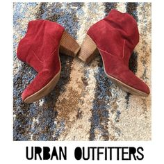 Urban Outfitters Ecote Red Suede Ankle Heel Boots Urban Outfitters Ecote Red Suede Ankle Heel Boots. 2.5 inch heel. Faux Suede. Worn just a couple of times. Great condition. Feel free to make an offer. Urban Outfitters Shoes Heeled Boots
