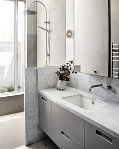 @cdkstonepin posted to Instagram: Beautiful @fionalynchoffice bathroom design using Cristian Grey in harmony with grey cabinetry and mosaic detail. Photo @lillie_thompson  #cdkstone #cristiangrey #naturalstone #naturalbeauty  #naturesmasterpiece #designstyle #designinspiration #designinspo #natural #stone #interiors Natural Stone Bathroom, Natural Stones, Cristian Grey, Grey Stone, Double Vanity, Mosaic, Design Inspiration, Bathrooms, Fashion Design