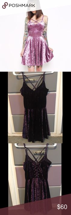 Iron fist velvet crush dress Model picture is in lavender, actual dress is plum. Worn once, perfect condition  Beautiful velvet strappy dress with a corset back! This is from their velvet crush limited collection Iron Fist Dresses Mini