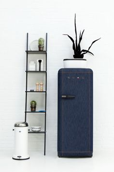Smeg refrigerator in denim, made in a limited edition of 500 in 2012. Cool.