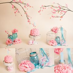 Pink and Tiffany Blue Cake Smash - rosette cake, cherry blossom and mason jars.  By Lovely Baby Photography