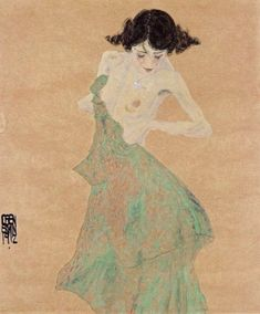Egon Schiele Woman in a green dress (1912)