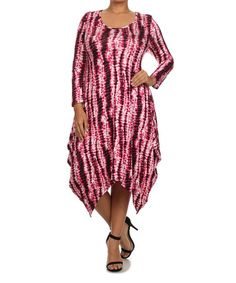 Pink Tie Dye Sidetail Tunic Dress - Plus #zulily #zulilyfinds