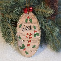 Holiday Ornament Christmas Music Candy Cane Bells by rrizzart, $10.00