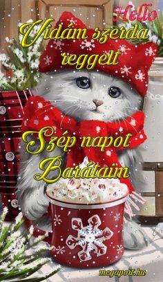 szerda reggel - Megaport Media Christmas Pets, Christmas Animals, Christmas Ornaments, Good Night, Good Morning, Share Pictures, Animated Gifs, Halloween, Holiday Decor