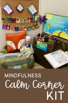 This is a calm down corner for when children need emotional space and a break. Calm Box, Calm Down Kit, Calm Down Corner, Mindfulness For Kids, Mindfulness Benefits, Mindfulness Techniques, Classroom Behavior Management, School Social Work, Behavior Interventions