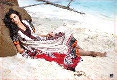 Pakistani Lawn fashion - Beautiful model and trendy dress make for a wonderful beach shot!