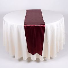 Satin Table Runner Burgundy ( 14 inch x 108 inches ) - BBCrafts store has quality tulle fabrics, ribbons, wedding supplies, tablecloths and deco mesh at specialty wholesale prices. Table Runner Round Table, Cheap Table Runners, Banquet Decorations, Wedding Decorations, Christmas Decorations, Wholesale Linens, Pink Centerpieces, Purple Wedding Cakes, Pink Table