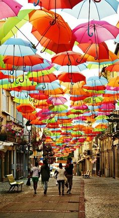 Hundreds of Floating Umbrellas Above a Street in Agueda, Portugal..... Well that's one way to use an umbrella... Or a few hundred umbrellas.