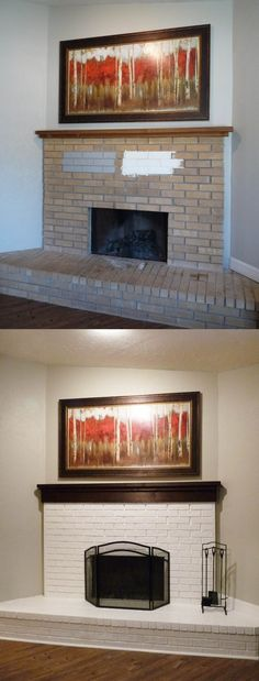 Brick fireplace painted white  #white painted fireplace #painted brick