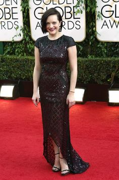 Elisabeth Moss looks like a matronly grandma in this dress. Golden Globes 2014 Red Carpet Recap