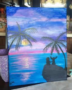 Haley's version of LILO and Stitch at sunset. Her first original piece.