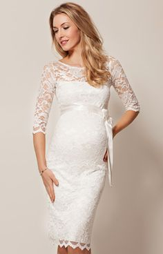Amelia Lace Maternity Wedding Dress Short (Ivory) - Maternity Wedding Dresses…