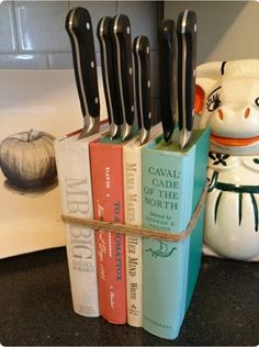 Book Knife Block. Looks cute. #home #idea #hack