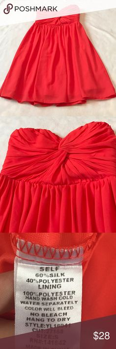"YA Los Angeles Orange Strapless Dress 28"" length. Sweetheart neckline. Still has tags attached. Lined on inside. Zips up the back. Chiffon like fabric with silk. Medium orange color. YA Los Angeles Ya Los Angeles Dresses Strapless"